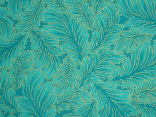 TIMELESS-TREASURES-DYNASTY-PLUME-BLUE-TEAL-GOLD-METALLIC-F-Q-QUILTING-FABRIC
