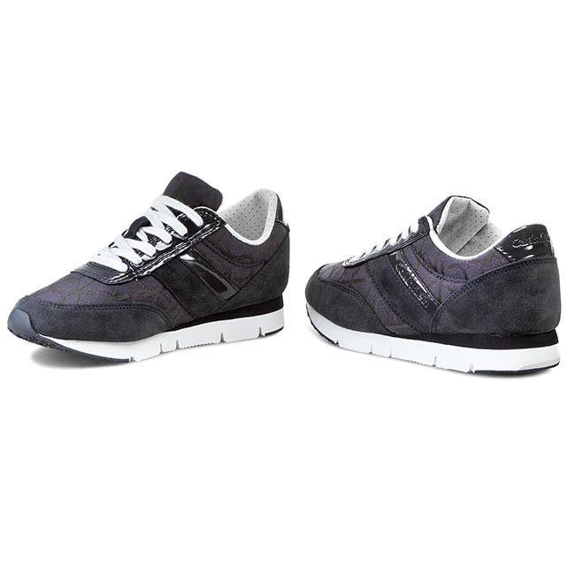 Sneakersy CALVIN KLEIN JEANS - Tea Ck Logo Jacquard/Patent RE9267 Blue
