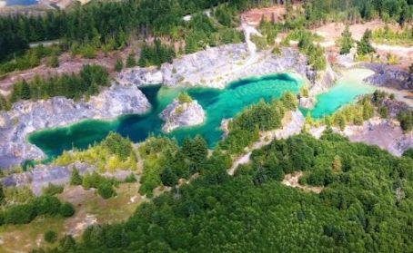 Heischolt Lakes on Texada Island is a flooded former limestone quarry