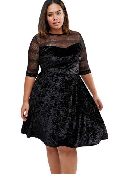 Chicloth Plus Size Mesh Insert Black Velvet Swing Dress