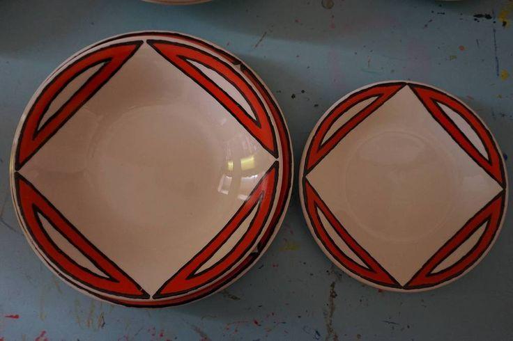 RARISSIMI PIATTI Pagnossin Ceramica Linea Schweizer Space Age Vintage Design  70