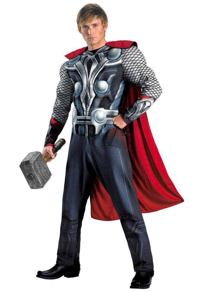 New Thor Halloween Costume Mens XL Disguise Deluxe Avengers Muscle Age Ultron #Disguise #CompleteOutfit