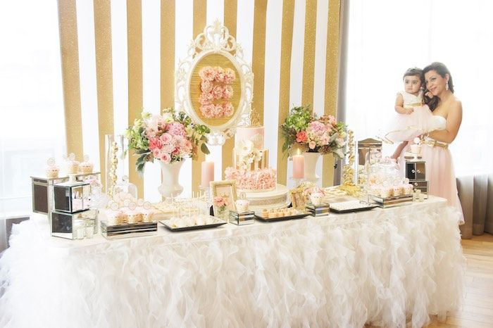 Sweet Table + Birthday Girl from a Pink & Gold Princess Party via Kara's Party Ideas | KarasPartyIdeas.com (32)