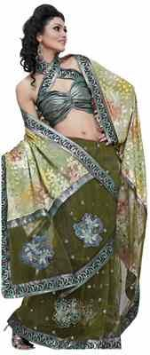 Mesmerizing Green Colored Embroidered Net Saree Sarees on Shimply.com