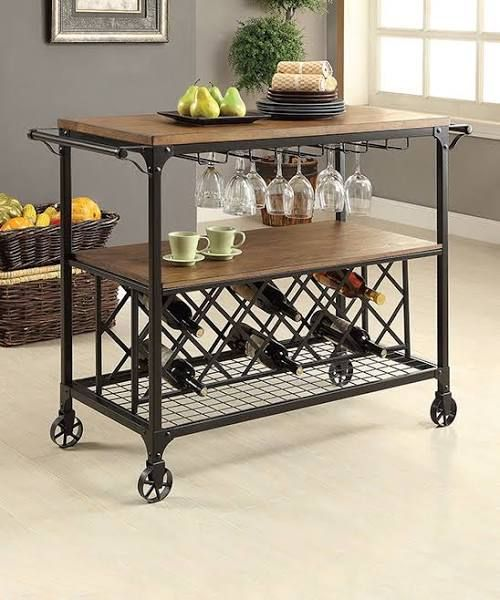 A Utilitarian Design For A No Fuss Kitchen Or Serving Area, This Industrial Dining  Cart Is A Smart Choice. The Mixture Of Metal And Wood Creates A ...