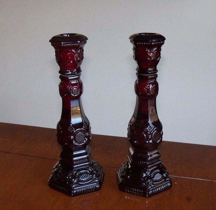 SET 2 Avon Cape Cod Ruby Red Glass Candlesticks Bird Paradise Patchwork Cologne - $15.95 | I paid $3 for pair.