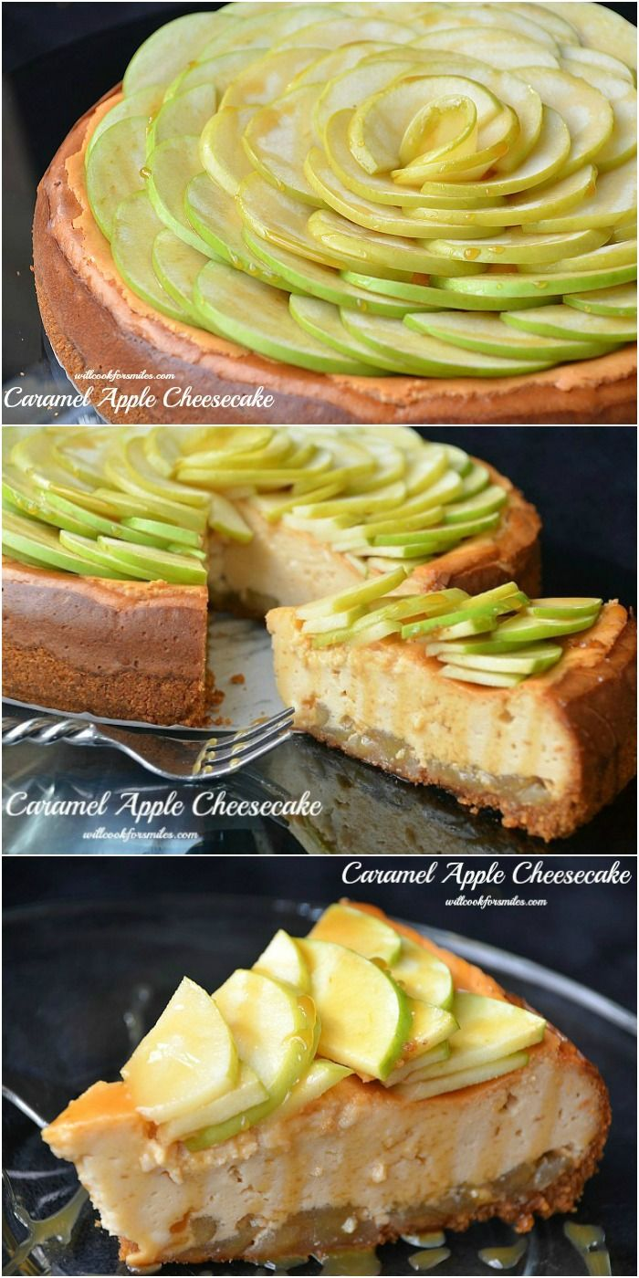 Caramel Apple Cheesecake Recipe ~ Amazing, smooth homemade cheesecake made with perfect fall caramel apple flavors!