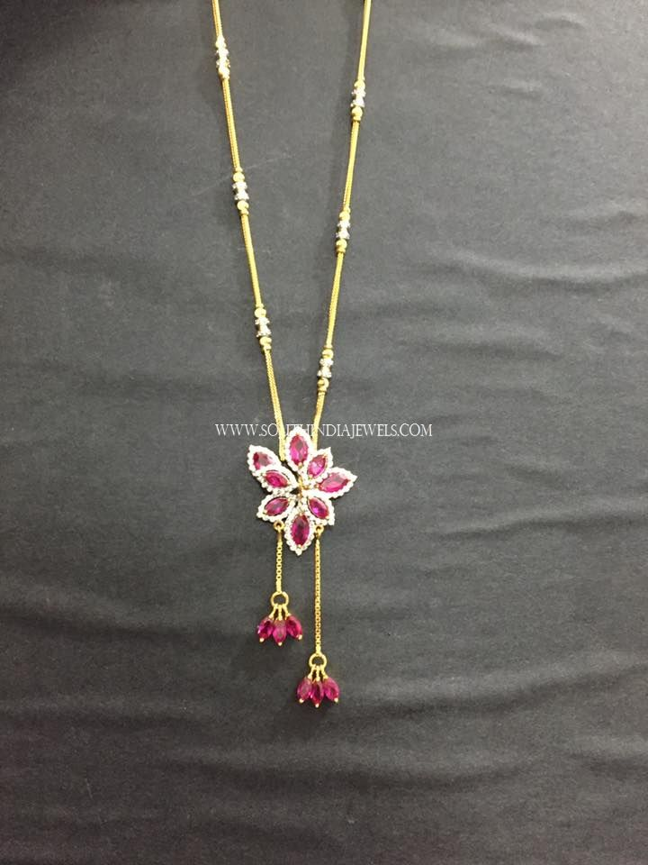 Gold chain with diamond pendants. For more gold chains and diamond pendant designs, check out our complete collections.
