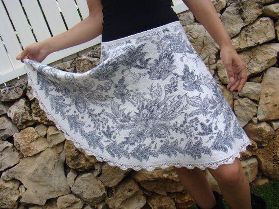 Купить Валяная юбка Просто юбка - белый, пейсли, Валяние, нуновойлок, рисунок на ткани