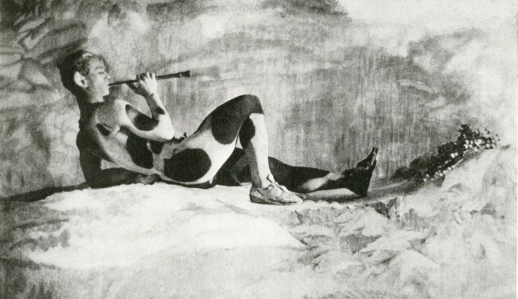 Vaslav Nijinsky as the Faun in the ballet 'The Afternoon of the Faun' , choreographed by Nijonsky himself for the Ballets Russes and first performed in the Théâtre du Châtelet in Paris on 29 May 1912. As its score it used the Prélude à l'après-midi d'un faune by Claude Debussy .. Youtube : https://www.youtube.com/watch?v=Vxs8MrPZUIg