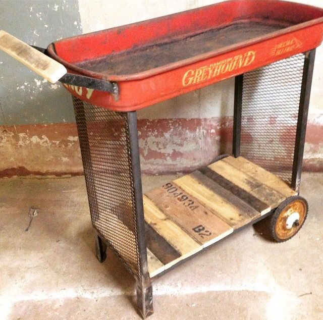 Little red wagon repurposed into beverage cart or planter