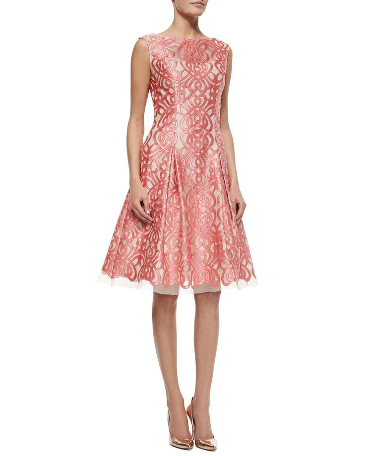 Aidan Mattox Cap-Sleeve Lace-Cut Fit & Flare Dress