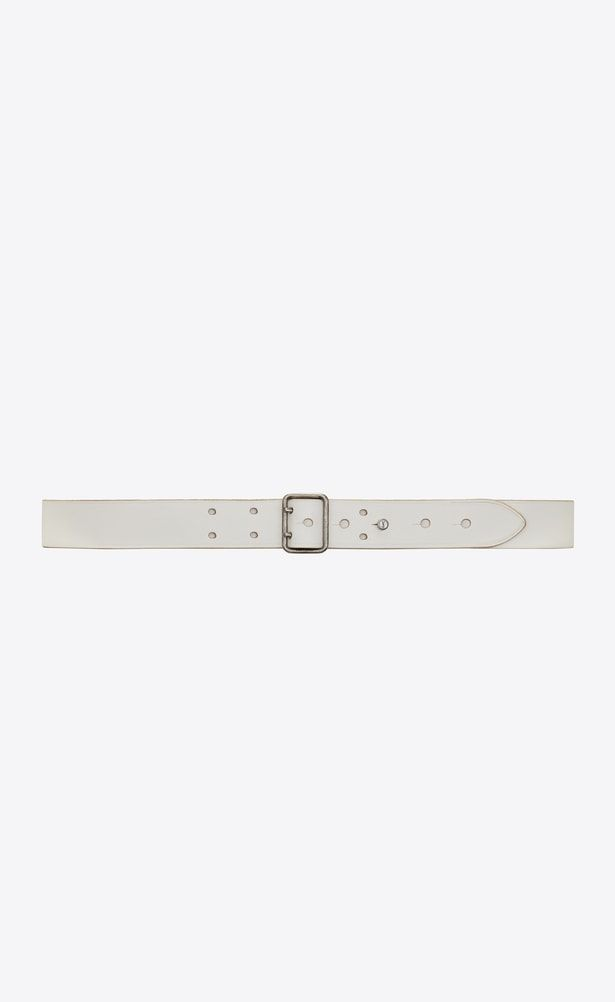 a5c54bbecd SAINT LAURENT Skinny Belts Woman Belt with PORTHOLE buckle in off ...