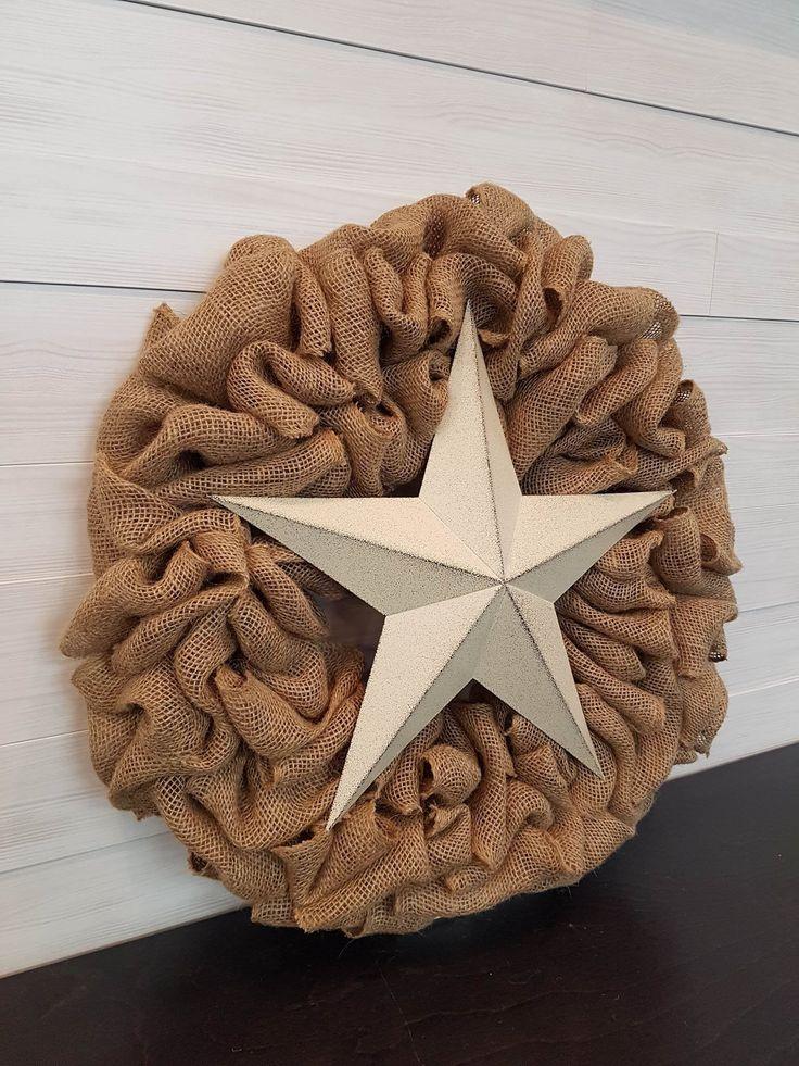 Burlap Wreath with Star . . #goldenforrest #goldenforrestcreations #burlap #burlapwreath #handmade #wreathideas #frontdoordecor #star #countrydecor #starwreath