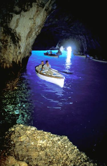 Must do: Blue Grotto in Capri, Italy. When you go to Naples, you can also go to the Pompeii ruins, or take a Ferry to Capri. Capri is not to miss. The Blue Grotto is the big tourist attraction there, and we thought it was a bit touristy. This is, however, the color or the water out in the Mediterranean. Beautiful.