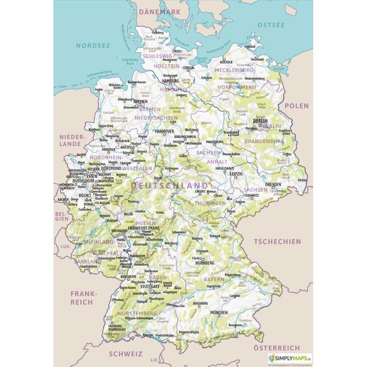 Physische Karte Deutschland A4 Format Kostenlos Vektor Karte