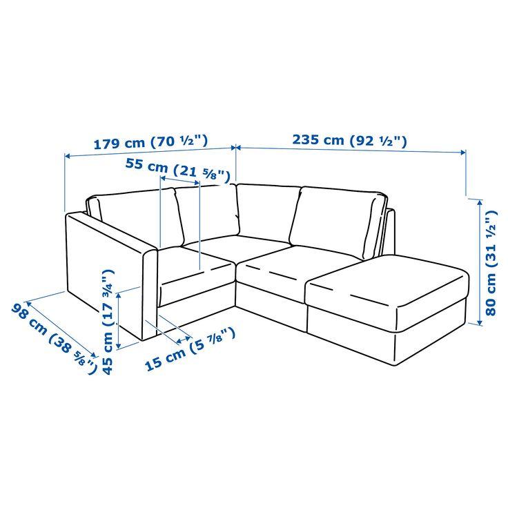 IKEA - VIMLE Sectional, 3-seat corner with open end, Farsta dark brown