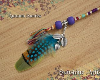 Autumn Sunrise, feather hair wrap, hair braid, clip in extension, handmade, woven, hair accessory, wooden beads, detachable charm/feathers