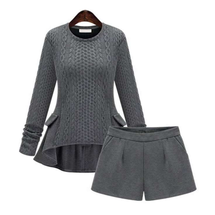 Women's Cashmere Sweater And Shorts Set
