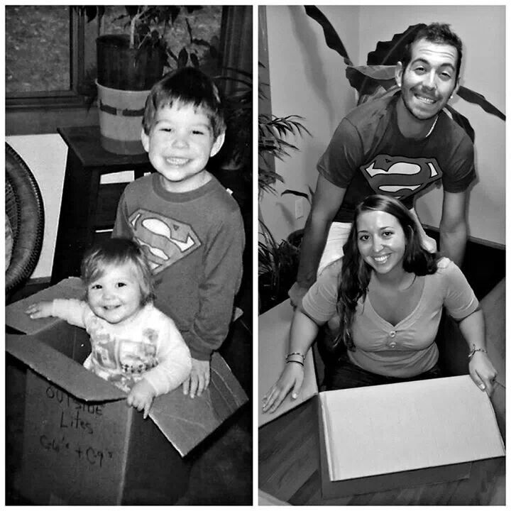 Then and now, family pictures