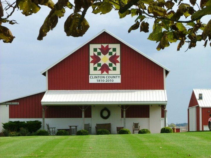 Tulip Bell - #36 on our Clinton County Bicentennial Barn Quilt Trail.  The tulip design on this 1890 barn, with hand hewn beams, was chosen in memory of a quilt given to the owners by their Grandmother.  Sponsor: SCM Co.