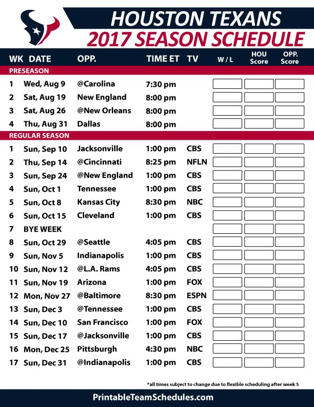 Houston Texans Football Schedule 2017