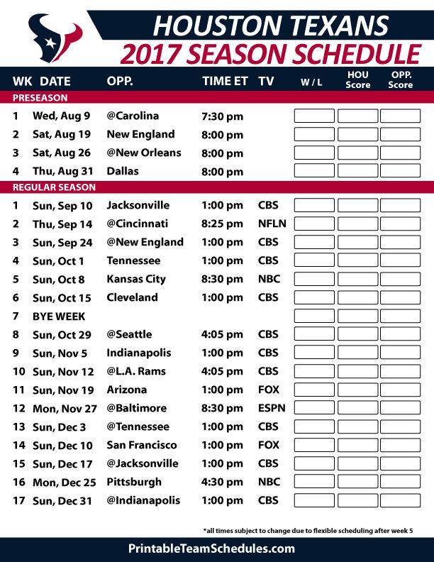 Houston Texans Football Schedule 2017