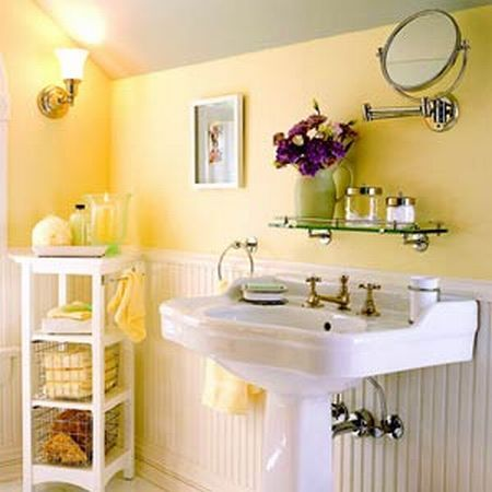 Bathroom Designs Attic Picture Bathroom Yellow Color Wall Picture Nice Circle Shaped Mirror Picture Good Small Picture Frame Nice White Color Washing