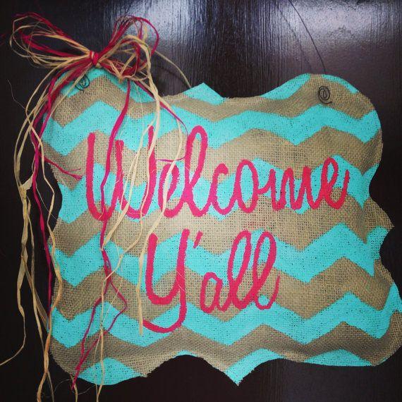 Welcome Y'all Mongolian Shaped Burlap Door Hanger on Etsy, $25.00