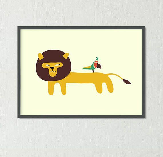 Cute lion& bird Nursery poster Animal print Child draw