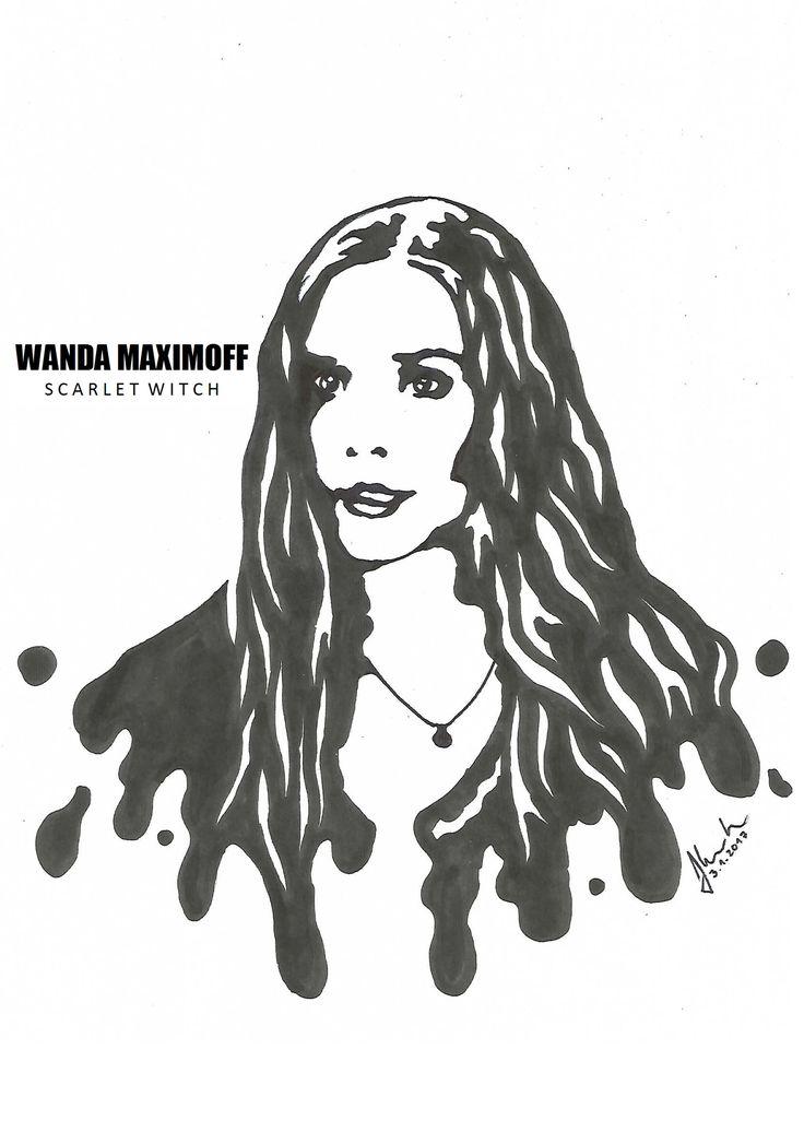 #wanda #maximoff #scarlet #witch #elizabeth #olsen #drawing #blackandwhite #marvel #avengers