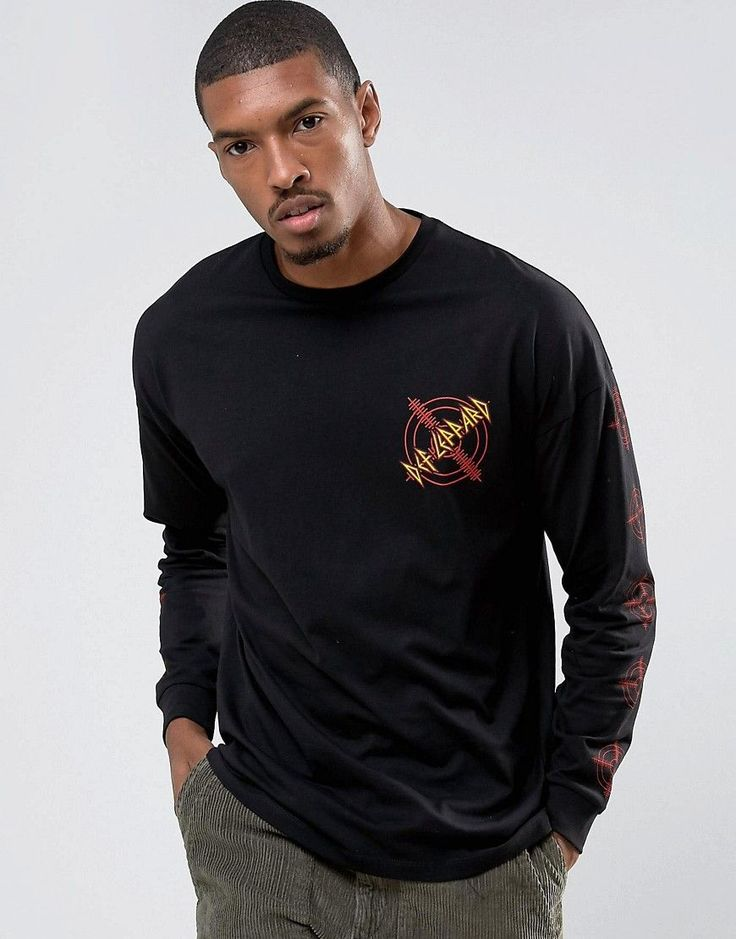 ASOS Def Leppard Oversized Long Sleeve Band T-Shirt - Black
