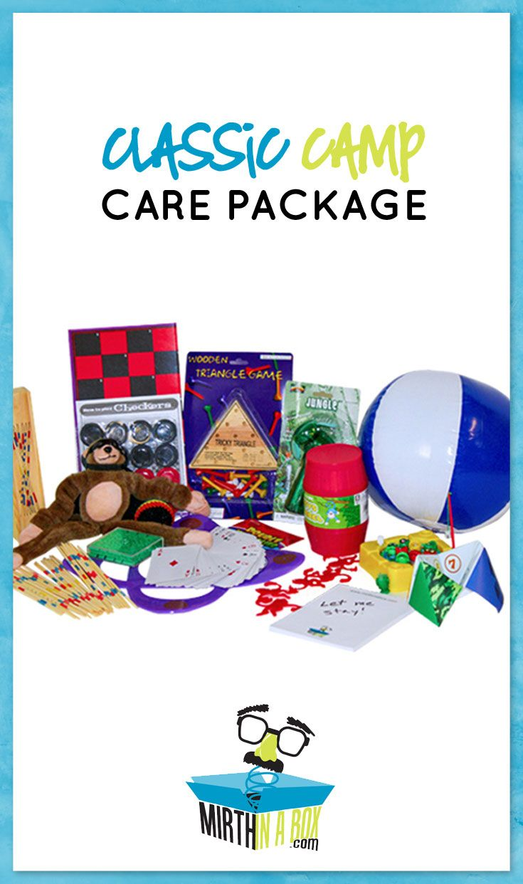 This stellar camp care package is filled to the brim with toys and tricks to eradicate cabin fever and home sickness. No food items to spoil, just games and goofiness. Parents--alleviate any guilt for leaving your kids in the buggy backwoods by sending this giant gift box.