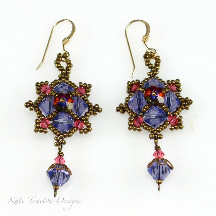 SALE - Byzantine Crystal Earrings, Beadweaving, Lavender Purple by KateTractonDesigns on Etsy https://www.etsy.com/listing/101610448/sale-byzantine-crystal-earrings