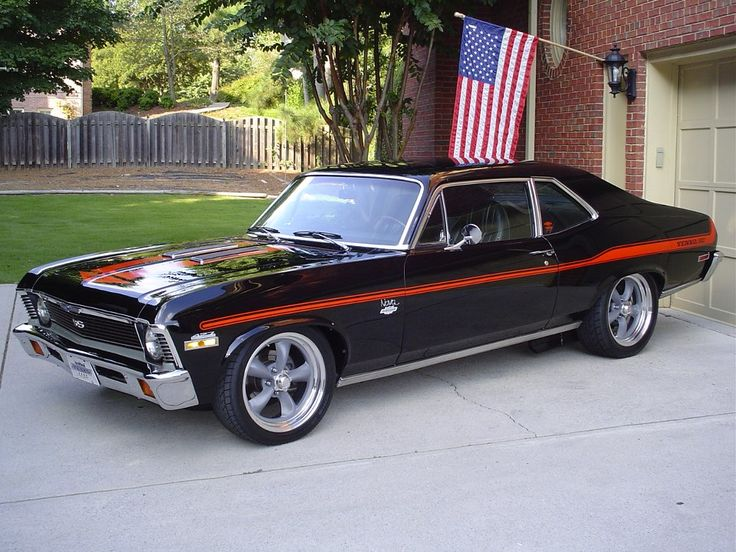 Yenko Nova. Reminds me of the 1972 Nova I ordered. I was shocked when I discovered Chevy dropped black except for station wagons that year - couldn't even order a dark blue. After about a year I traded parts to a friend for a black paint job. I love this red accent stripe.