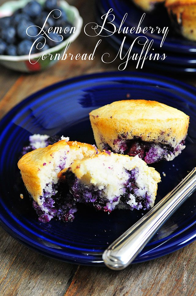 Lemon Blueberry Cornbread Muffins from addapinch.com
