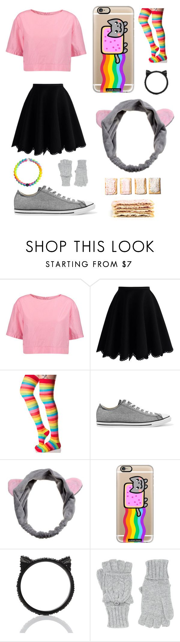 """""""DIY Halloween Costume Nyan Cat"""" by pattibear ❤ liked on Polyvore featuring Marni, Chicwish, Leg Avenue, Converse, Casetify, Kate Spade and Accessorize"""
