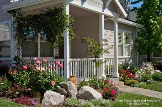 Landscaping with rocks around your porch front porches for Front bed landscaping ideas