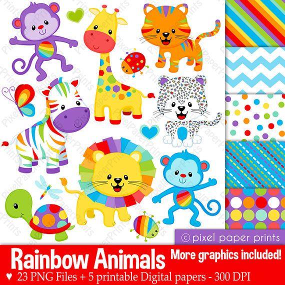Rainbow Animals Clipart - Clip Art and Digital paper set