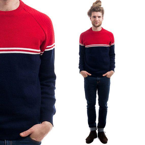 1980s RETRO Sports PULLOVER Sweater . Vintage 80s by BetaMenswear