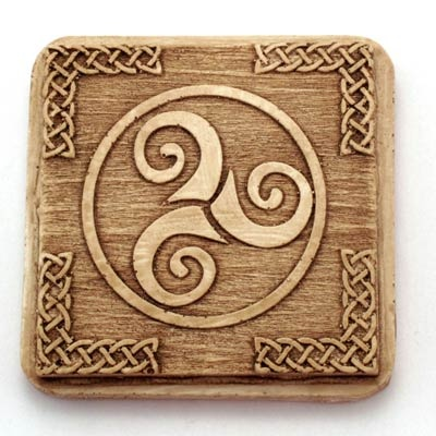 Celtic triskel magnet. Handmade with reconstituted stone finish wood effect. Artcraft of The Way of St.James. Tax free $2.90