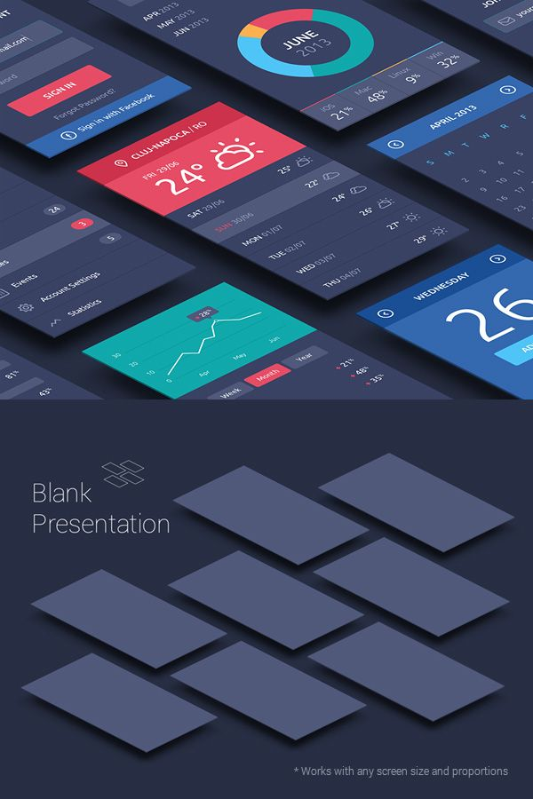 This set of  perspective mock-ups allows you to create a nice presentation for your apps and UI projects. Use the smart objects...