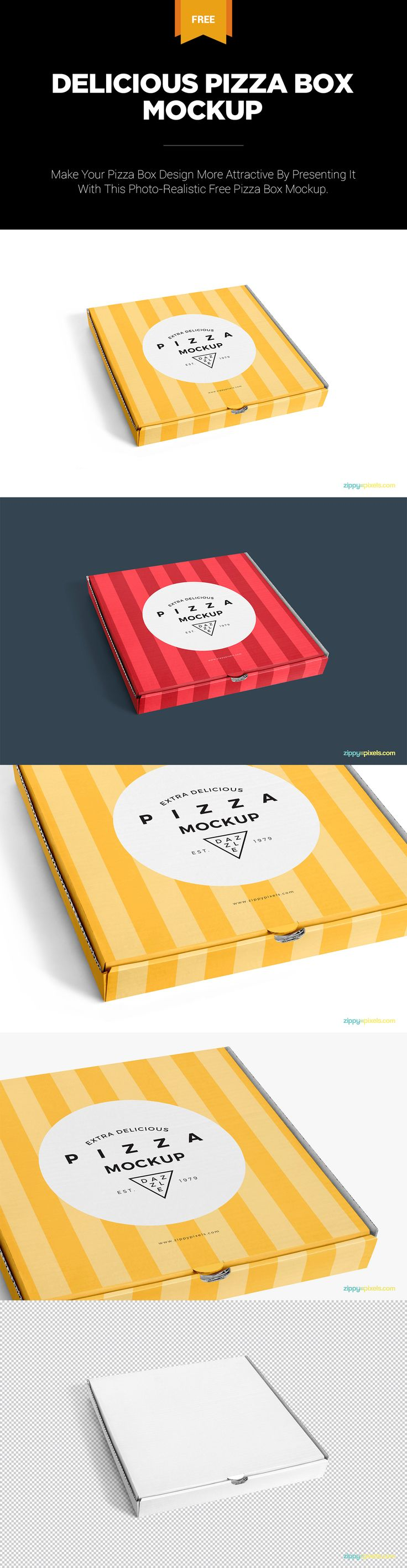 Make infinite design presentations using this single pizza box mockup. #Free #freebie #mockup #pizza #box #freemockup #PSD #Photoshop #pizzabox