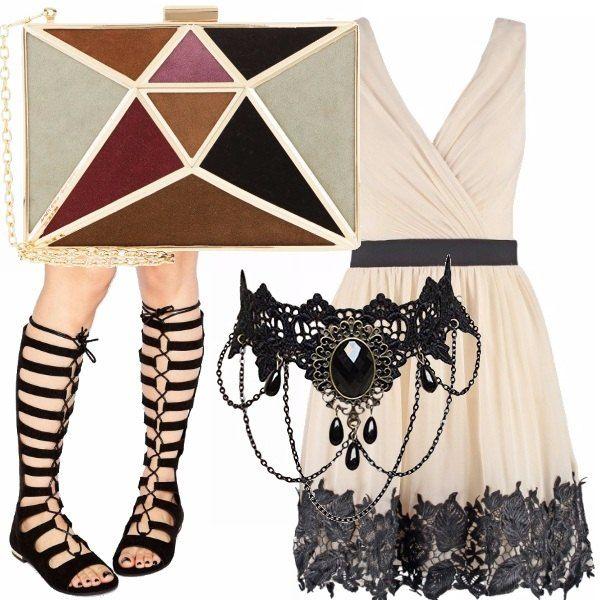 """Un mix di stili: l'abito romantico, i sandali """"gladiator"""", il girocollo vittoriano, la tracolla dalle fantasie geometriche. Perché la moda è un gioco. E va giocato."""