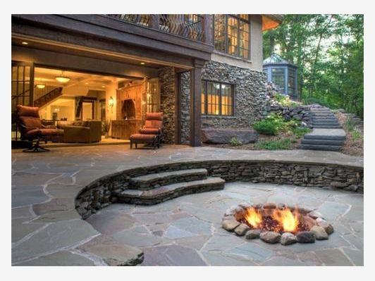 Flagstone  Fire pit  Beautiful backyard garden design ideas! Great