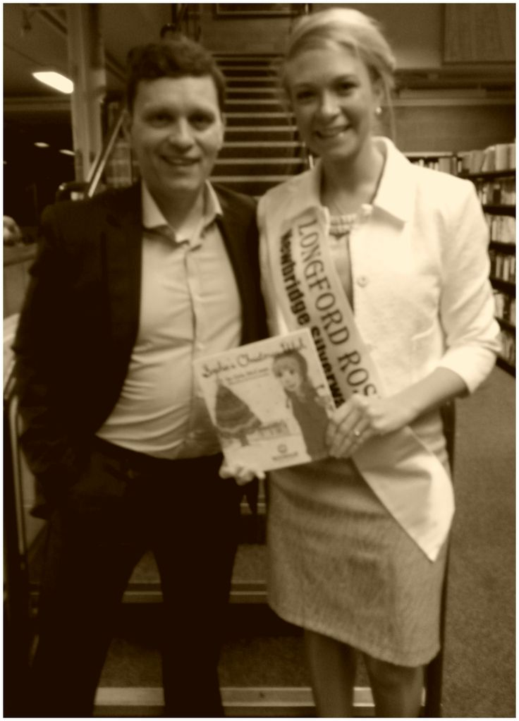 Dr. Niall McElwee, Book Hub Publishing, with Longford Rose, Daphne Howard, at the launch of Orla McCann's book, Sophie's Christmas Wish in Longford, Ireland. November 2015.