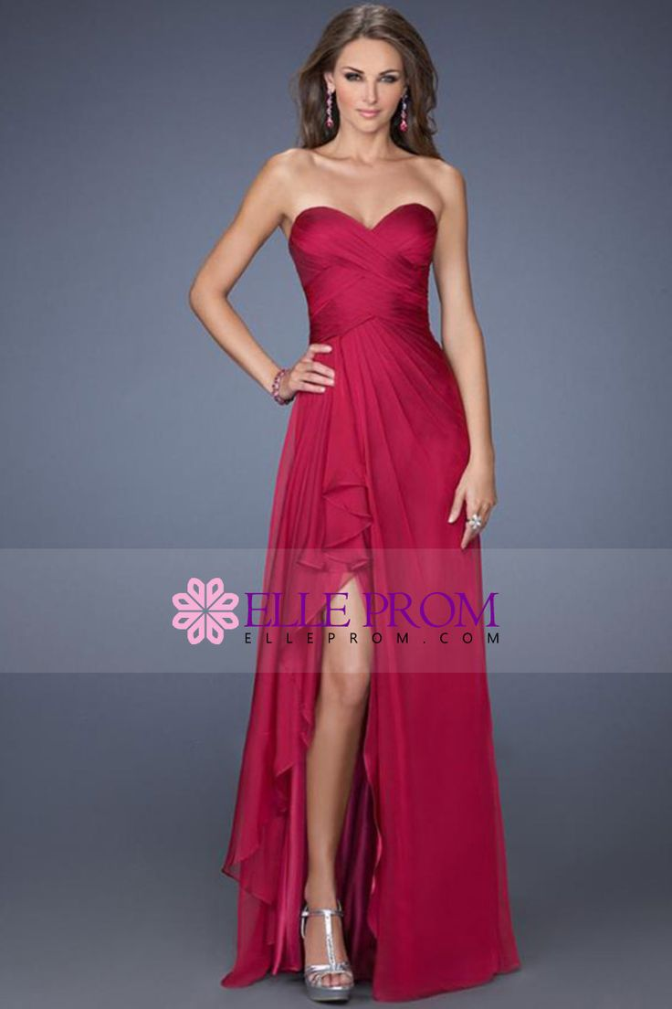 2014 Sweetheart Neckline Chic Dress Pleated Bodice A Line Chiffon With Slit