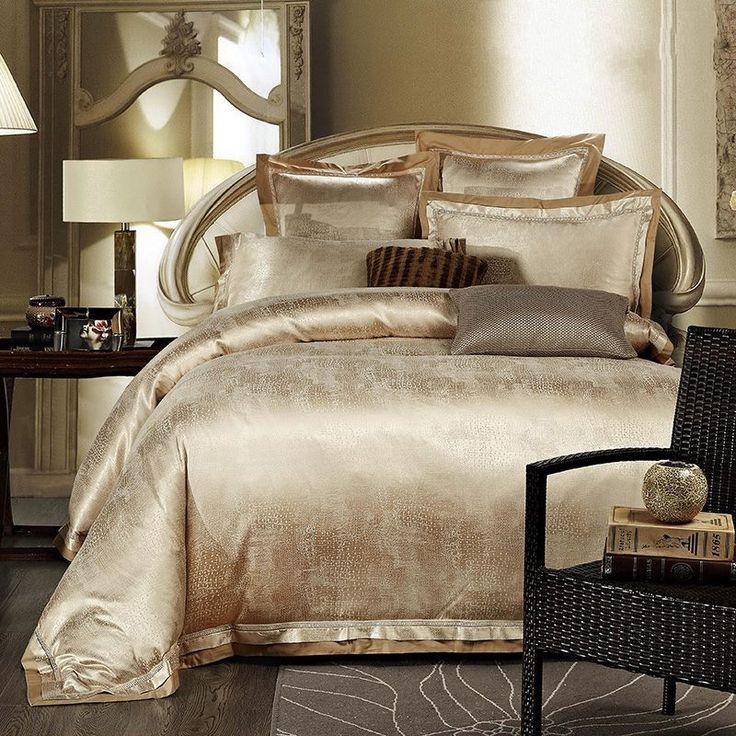jacquard silk bedding set luxury 4pcs satin bed set duvet cover