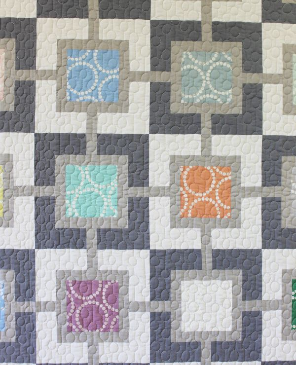 """Pearl Gray quilt by Christa Watson. """"I quilted a series of lines and circles which I named String of Pearls."""""""