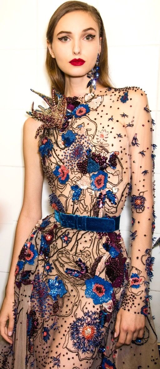 Beautiful fabric embellishment by international designer Elie Saab, 2016 www.eliesaab.com